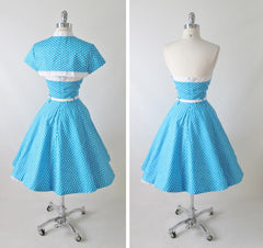vintage 1950's style full skirt blue strapless polka dot dress Lucy back