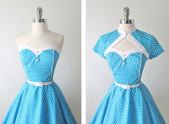 vintage 1950's style full skirt blue strapless polka dot dress Lucy bodice