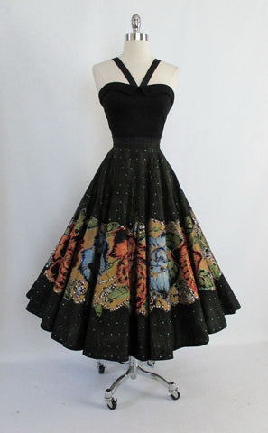 • Vintage 50's Hand Painted Red Blue Roses & Sequins Souvenir Circle Skirt M