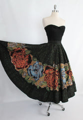 50's hand painted roses circle skirt sweep