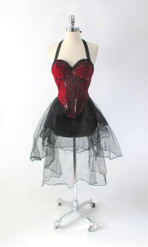 Red Velvet Burlesque Bombshell Costume XS
