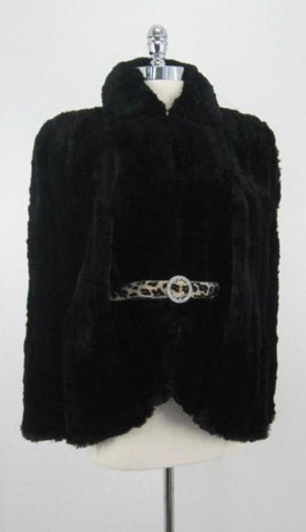 Vintage 40's WWII Film Noir Black Hudson Fur Cape Coat Jacket M -  XL
