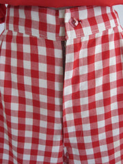 70's 40's vintage red white gingham shorts detail