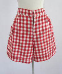 70's 40's vintage red white gingham shorts front