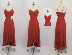 vintage 40's red lace evening gown details