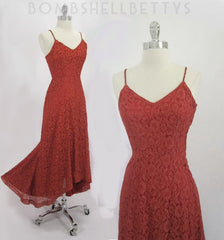 vintage 40's red lace evening gown full
