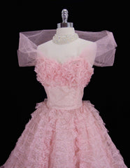 Vintage 50's Candy Pink Lace and Tulle Formal Party Dress M - Bombshell Bettys Vintage