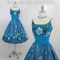 z Vintage 50's Hawaiian Kamehameha Aqua Floral Full Swing Skirt Summer Dress S