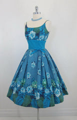 • Vintage 50's Hawaiian Kamehameha Aqua Floral Full Swing Skirt Summer Dress S - Bombshell Bettys Vintage