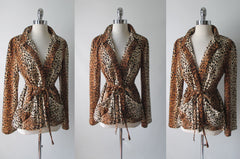 Vintage 70's Soft Leopard Evening Jacket Blazer L - Bombshell Bettys Vintage