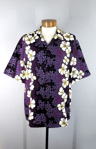 Mens Vintage Hilo Hattie Purple Hibiscus Barkcloth Hawaiian Shirt XL