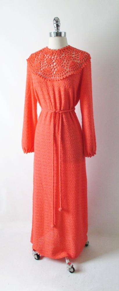 vintage 70's orange knit maxi full length sweater dress gown bombshell bettys vintage