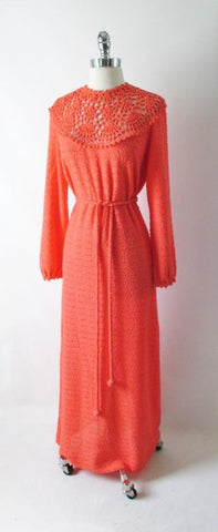 Vintage 70's Full Length Knit Sweater Dress L XL