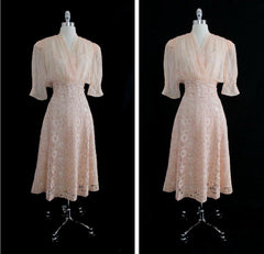 Vintage 40's Peach Lace Sheer Silk Chiffon And Satin Party Dress L - Bombshell Bettys Vintage