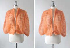 vintage 60's 70's peach orange cardigan sweater knit top side