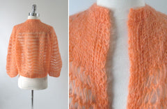 vintage 60's 70's peach orange cardigan sweater knit top back