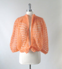 vintage 60's 70's peach orange cardigan sweater knit top full