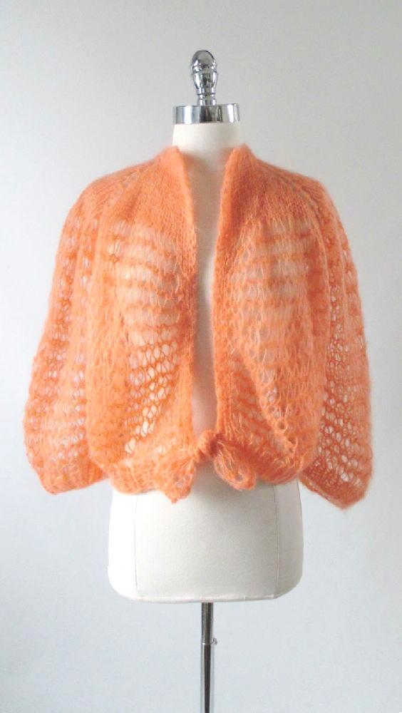 vintage 60's 70's peach orange cardigan sweater knit top gallery