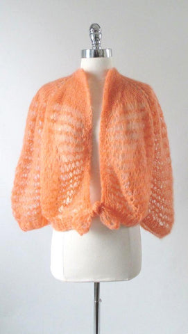 Vintage Hand Knit Open Weave Peach Cardigan Sweater One Size