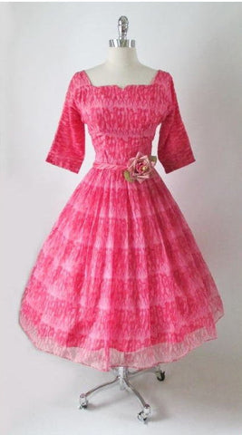 Vintage 50's Sheer Pink Organdy Chiffon Strolling Ladies Novelty Print Party Dress S