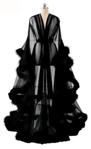 Sheer Marabou Feather Trimmed Floor Sweeping Dresssing Gown / Robe