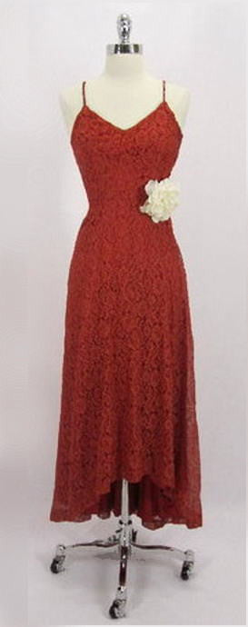 z Vintage 40's Red Lace Fishtail Train Evening Wedding Cocktail Party Gown Dress XS - Bombshell Bettys Vintage
