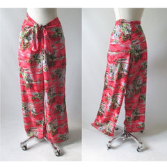 Vintage 90's Red Rayon Tie Waist Tropical Beach Pants L - Bombshell Bettys Vintage
