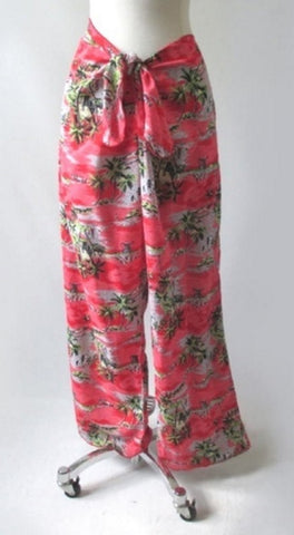 Vintage 90's Red Rayon Tie Waist Tropical Beach Pants L