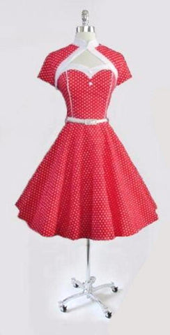 • Vintage 50's Look Red Polka Dot Fit & Flare Dress Matching Bolero L / 14