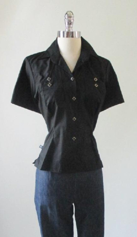 Vintage 50's Style Rockmount Ranchwear Black Western Shirt Blouse Top S - Bombshell Bettys Vintage