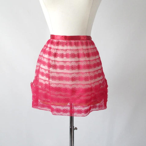 Vintage 50's / 60's Elsa Schiaparelli Red Lace Satin Trim Hostess Apron