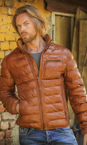 New Scully Ribbed Cognac Lambskin Leather Puffer Jacket