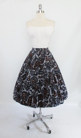 Vintage 50's Tribal Tapa Print Novelty Full Swing Skirt Luau Tiki M