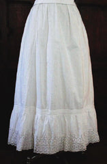 Antique Victorian Cutwork White Lace Pintuck Petticoat Slip Skirt XS - Bombshell Bettys Vintage