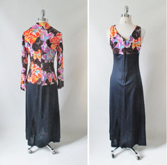 Vintage 70's Floral Maxi Dress & Matching Jacket L - Bombshell Bettys Vintage