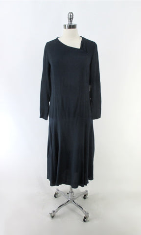 Vintage 20's 30's Navy Blue Rayon Dress S