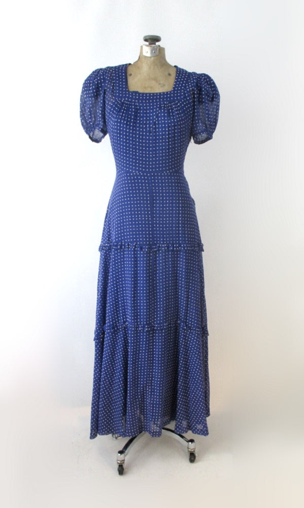 Vintage 30s 40s Sheer Blue Swiss Dot Dress Gown XS