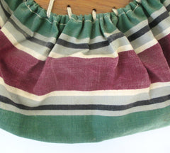 Vintage 40s Falsa Stripe Bonnie Style Canvas & Wood Bag Beach Tote