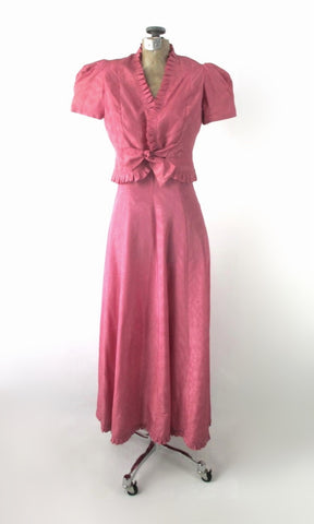 Vintage 40s Pink Gown & Matching Puff Sleeve Bolero XS