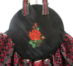 Vintage 40s Red Roses Fabric & Wood Bonnie Style Bag
