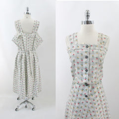 vintage 40s flour sack floral cotton sundress dress matching bolero swing skirt new old stock plus size XXL dress set bombshell bettys vintage bodice