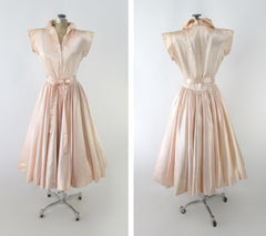 Vintage 40s 50s Soft Pink Satin Evening Lounge Dress S