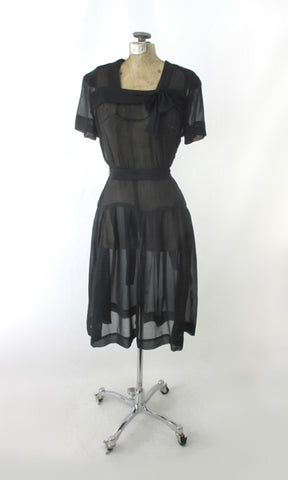 Vintage 40s Sheer Black Day Dress Matching Belt S