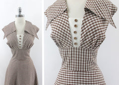 Vintage 50s Brown Gingham Wide Collar Day Dress L