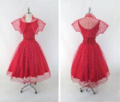 vintage 50s red lace full skirt fit flare party dress lace bolero over skirt lace set matching bombshell bettys vintage bolero full