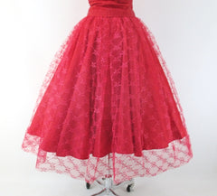 vintage 50s red lace full skirt fit flare party dress lace bolero over skirt lace set matching bombshell bettys vintage skirt