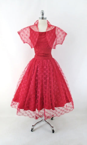 Vintage 50s Red Lace Full Skirt Party Dress Matching Bolero & Overskirt M