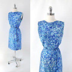 Vintage 60s Blue Floral Sheath Dress Matching Belt Set S