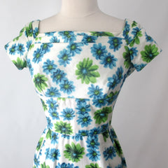 Vintage 50's Blue Green Floral Sheath Party Dress XS
