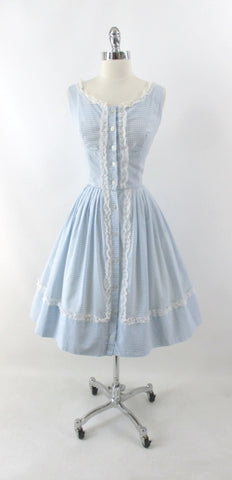 Vintage 50s 60s Light Blue Gingham Matching Top & Skirt Dress Set S